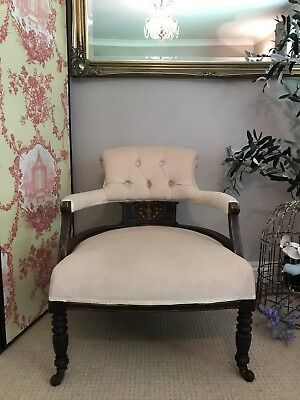 Antique Edwardian Parlour Tub Chair Framed Armchair PICKUP NOTTS