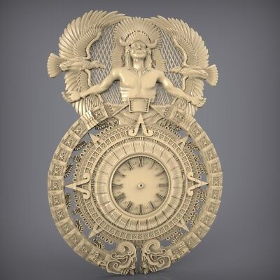 (881) STL Model Clock for CNC Router 3D Printer  Artcam Aspire Bas Relief