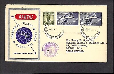 QANTAS first round-the-world (RTW) flight cover 1958, with two  RTW stamps