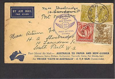 First Official Air Mail 1934 cover from Australia to Papua (and return)