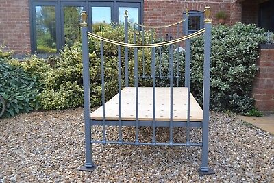 Single antique Edwardian Victorian 3ft brass & iron bed frame and base bedstead