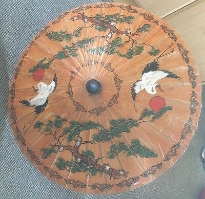 """Vintage Hand Painted Paper & Bamboo 34"""" Parasol Bird & Floral Paper Oriental"""