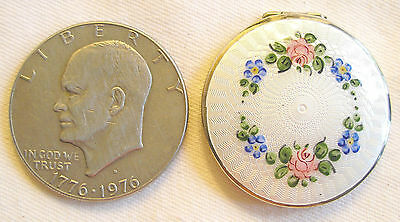 HIGH QUALITY guilloche ENAMEL on sterling (?) compact - circa 1910-20