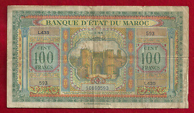1944 Morocco 100 Franc Note  P-27A  WW2