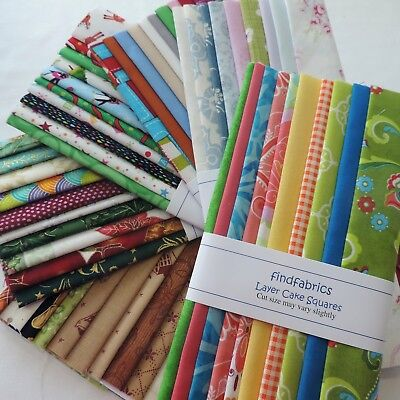 """NEW 10"""" Layer Cake Square ~ Mixed Fabrics 100% Cotton ~ 10 Pieces ~ Beginner Set"""