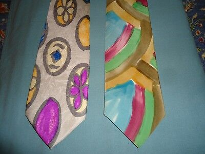 2 Vintage, Colorful Mod Funky Neck Ties -  Silk USA & Italy,  VG Cond, Low Ship
