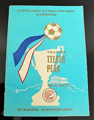 1971 European Cup Winners Cup Final Chelsea v Real Madrid Match Program