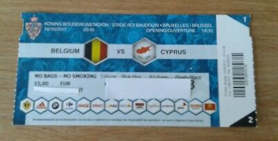 Ticket For Collector: Belgium - Cyprus World Cup Qualifier 2018  10/10/2017