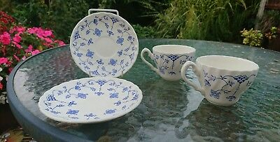 2 Vintage Myott Finlandia China Tea Cups and Saucers 1982