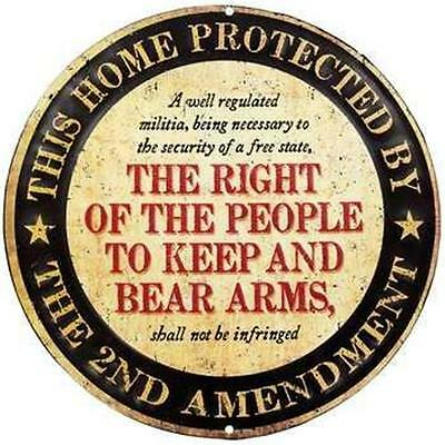 2nd Ammendment NRA Guns Eagle Embossed Metal Tin Sign