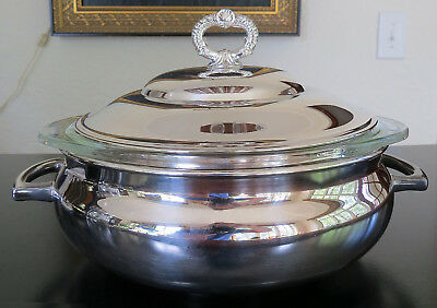 Silver Plated Covered casserole Chafing Dish With 1.5 Quart Pyrex Serving Bowl