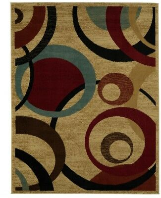 Contemporary Abstract Beige Area Rug Modern Stain Resistant 5 feet 3 in x 7 feet