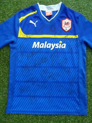 Cardiff City Shirt Hand Signed by 2017/2018 Squad - 22 Autographs - Hoilett