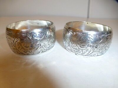 Chester Silver Napkin Rings, a pair.