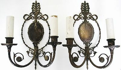 Silver Plate Pair E. F. Caldwell  Classical Design Two-Arm Sconces 1914.