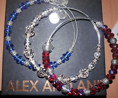 Lot of 3 Alex and Ani Beaded Bracelets Red Blue Pale Pink NWOT