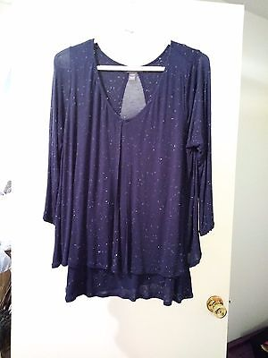 A Pea in the Pod navy blue ¾ sleeve nursing top shirt size L large