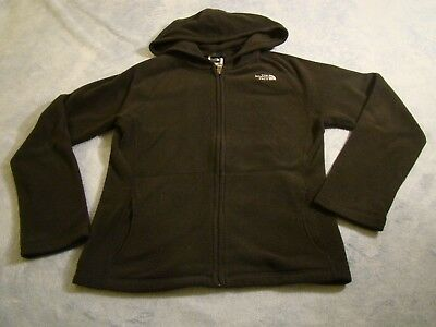 North Face Youth Lightweight Hooded Fleece Size 10/12 Black Full Zip