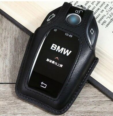 Black Leather Key Case Cover For BMW 16/17 7 Series G11/G12  Display Xmas Gift