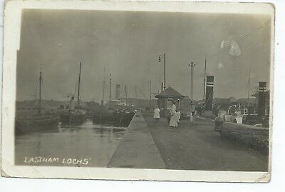 Real photo postcard of the Canal Lochs at Eastham Merseyside in vgc