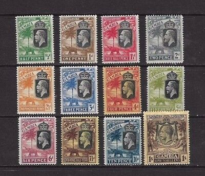 Gambia Stamps KGV x 12 1/2d to 1/- 1922 Mounted Mint.