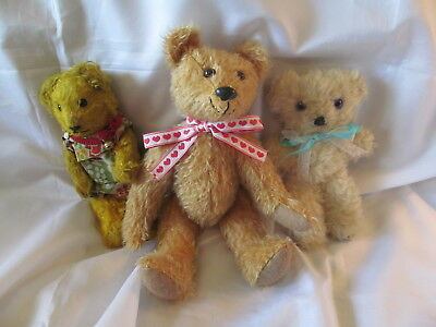 Lot of Three Vintage Teddy Bears, Origin Unknown, Ten, Eight, and Seven Inches