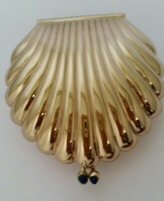 Vintage Givenchy Gold Plate Clam Shell Shaped Powder,Compact with Blue Cabochons