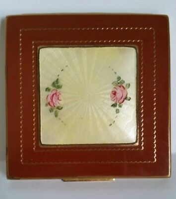 Vintage Shields Heavy Vanity Compact with Yellow Guilloche & Red Enamel. Must C!