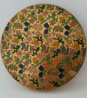 Vintage Stunning Compact with Colorful ELEPHANTS & LIONS Enameled Scene. MUST C!