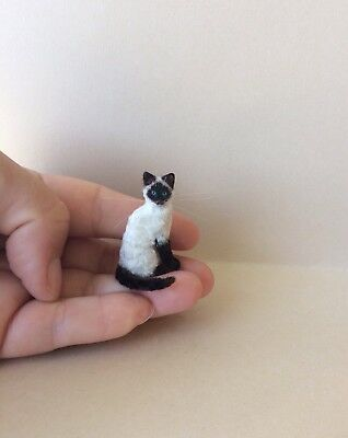 OOAK Dollhouse Miniature Realistic Siamese Cat Kitten Hand Made by Artist 1:12