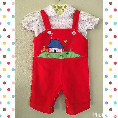 Vintage Baby Girl Outfit Red Appliqué Overalls & Polkadot Shirt Size 0-9 Months
