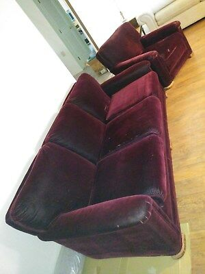 Antique mohair burgundy couch and chair from 1941