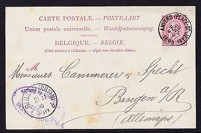 Belgium 1895 Letter card -  Anvers (Place St Lean)  to Bingen Germany