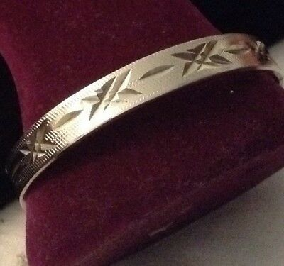 vintage 18kt white rolled gold plate diamond cut bracelet - inside - 7.5 inches