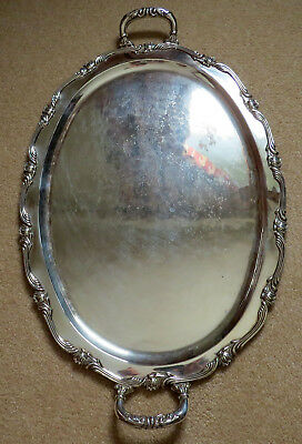 """Large Solid Sterling Silver Handle Serving Tray 4 POUNDS Platter 24.25"""""""