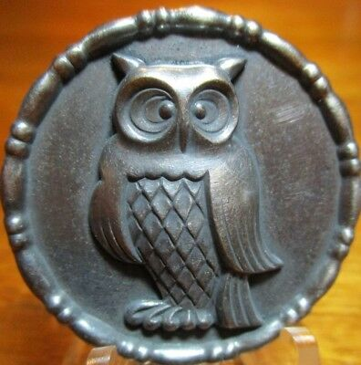 """Very Old French Metal 1940s~""""OWL"""" High Relief Vintage Silver/PLt Button Antique"""