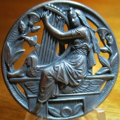 """Very Old French Metal 1940s~""""LADY PLAYS HARP"""" Vintage Silver/PLt Button Antique"""