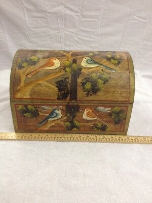 Vintage Hand Painted Wood Box Birds Ships Free