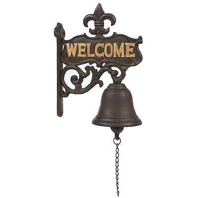 "Cast Iron Bell - ""Welcome"" Entry Door Bell Antique Doorbell for Decoration Fr..."