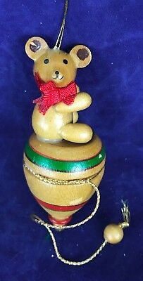 Vintage Wood Ornament Bear Toy Spin Top