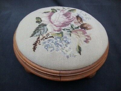 Antique Victorian Needlepoint Walnut Wood Footstool Accent Piece Bun Feet Rose