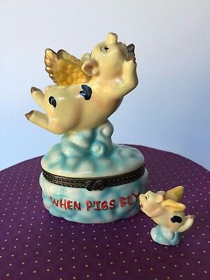 "Pig With Wings Porcelain Hinged Trinket Box w/ Mini Pig - ""When Pigs Fly"""