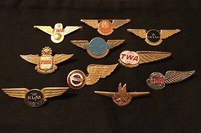 Vintage Lot Of 10 Airline Metal Pins Aviation Lot