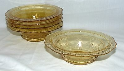 """5 Federal PATRICIAN AMBER *6"""" CEREAL BOWLS*"""