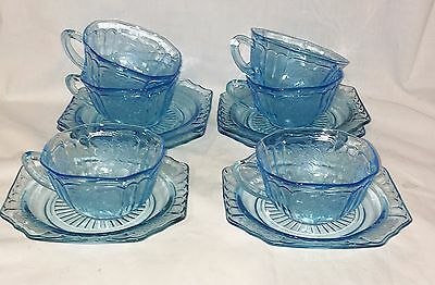 6 Anchor Hocking MAYFAIR/OPEN ROSE BLUE *CUPS & SAUCERS*