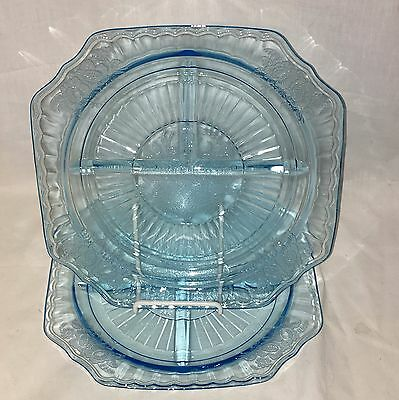 """2 Anchor Hocking MAYFAIR/OPEN ROSE BLUE  *9 1/2"""" GRILL PLATES*"""