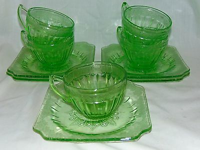 5 Jeannette ADAM GREEN *CUPS & SAUCERS*