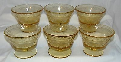 """6 Federal PATRICIAN AMBER *3 1/2"""" SHERBETS*"""