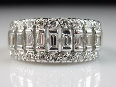 Platinum Diamond Ring Anniversary Band Estate Vintage 1.00ctw G/VS Baguette