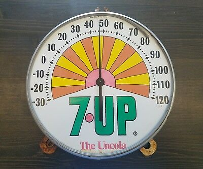 """VINTAGE 12"""" 7UP ROUND DIAL THERMOMETER PETER MAX DESIGN SODA POP / Needs Glass"""